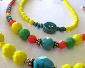 on sale Yellow Bracelet/Turquoise/Spring Jewelry/Stackable/Layering Bracelet/Everyday Jewelry/Lemon Yellow/Handmade Jewelry