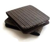 Mens Vegan Wallet / Super Thin Minimalist Billfold Wallet / Brown Pinstripe Herringbone