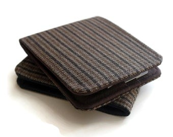 Mens Vegan Wallet / Super Thin Minimalist Billfold Wallet / Brown Pinstripe Herringbone