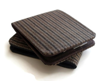 SALE Mens Vegan Wallet / Super Thin Minimalist Billfold Wallet / Brown Pinstripe Herringbone