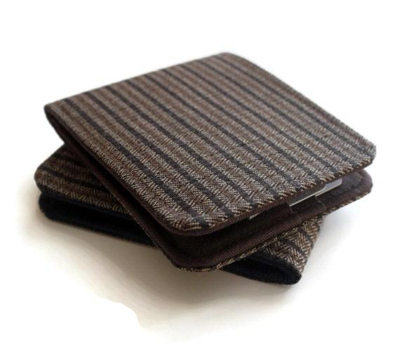 SALE Mens Vegan Wallet / Super Thin Minimalist Billfold Wallet / Brown Pinstripe Herringbone