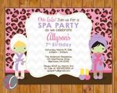 Spa Party Birthday Invite Girls Pik Leopard Print Manicure Pedicure Facial Preteen teen 7th 8th  Birthday Invitation 5x7 Digital JPG (534)