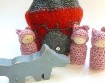 The Three Little Pigs play set wood peg dolls Storytelling Peg dolls