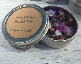 Glass beads, loose bead kit, glass beads and more in a magical bead tin, purple, 2.5 inch aluminum tin 2 ounces