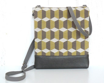 Crossbody Purse, Sling Bag, Retro Cross Body Bag - Cubicles in Gray, Beige and Chartreuse