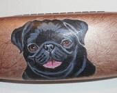 Black Pug Dog  Hand Painted Eyeglass Case