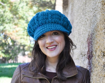 Woman's Crochet Hat - Sapphire Blue - Crocheted Newsboy Hat for Adult