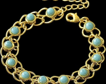 VINTAGE 9K real Gold filled link bracelet with faux turquoise stones