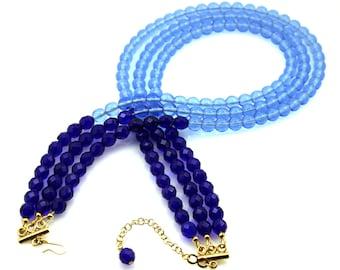 Blue Statement Necklace, Bright Blue Statement Necklace, Multi Strand Necklace, Big Blue Statement Necklace, Big Necklace, Blue Necklace