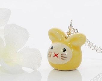 Yellow Kawaii Bunny Necklace Rose - Rabbit Jewelry - Bunny Rabbit Pendant