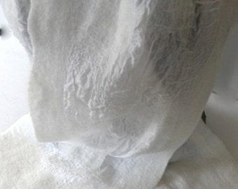 Nuno Felt Scarf WINTER WHITE on PAJ Silk