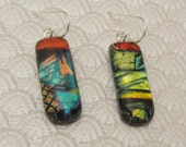 Bright gold orange teal multi-layer long dangle dichroic glass earrings fused glass earrings sterling silver ear wires