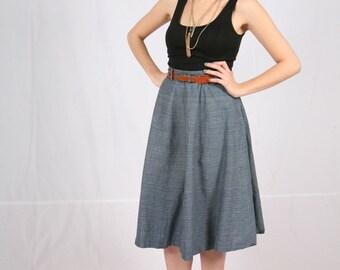 denim paneled circle skirt 1950s vintage