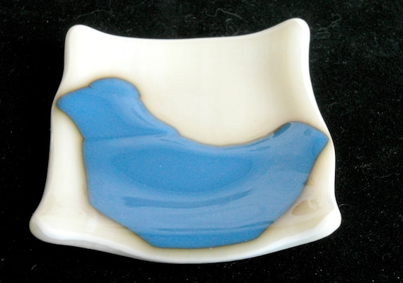 Small Fused glass dish - bluebird Fused Glass - candle holder - Decorative Bowl- Dresser Caddy - organic square - blue bird - cream base
