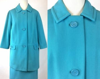 Blue Jacket and Skirt Set - Robin Egg Blue Suit - Aqua Turquoise Buttons, Matching Straight Skirt - Medium Large Vintage Mix Match Separates