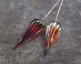 Iris Ripple Head Pins - Handmade Lampwork Glass HeadPins - SRA Elasia MTO