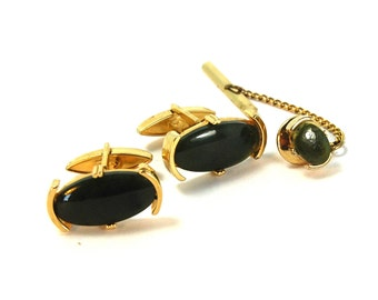 Vintage SWANK Cufflinks and Tie Tack Set Dark Green Jade in Gold Tone Settings Circa 1950