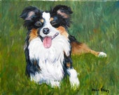 "Oil Painting Dog Portrait, 8"" x 10"", by Painter Robin Zebley, Custom Border Collie"