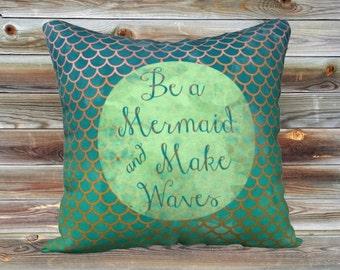 """Be A Mermaid Art Throw Pillow Cover Summer Pillow Case 18x18"""""""