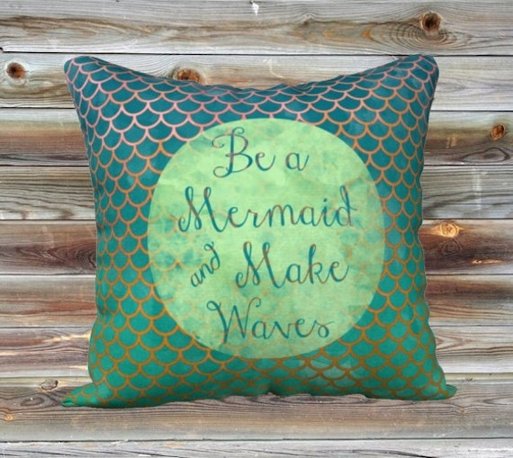 Be A Mermaid Art Throw Pillow Cover Summer Pillow Case 18x18""