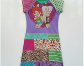Size 10 (55 inch height) upcycled girls dress with patchwork skirt Pebbles