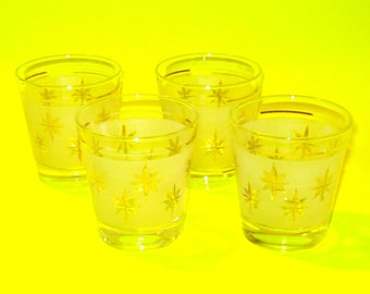 Vintage 1960s Atomic Age MidCentury Frosted Gold Star Glasses Set of Four PRISTINE!
