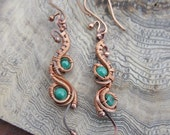 Copper and Malachite Dangle Earrings