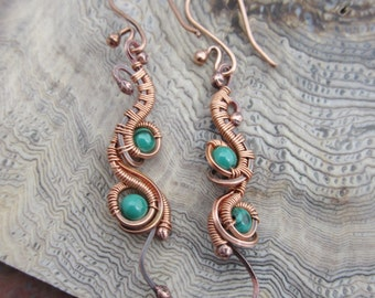 Copper and Malachite Dangle Earrings
