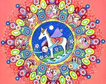 Horse mandala A3 coral art whimsical folk painting unicorn wall art pegasus mixed media painting gift for friend