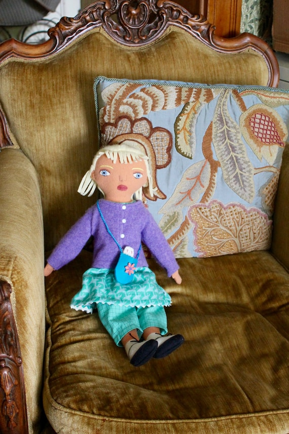 Blond Girl doll wool with Bunny toy Summer clothes