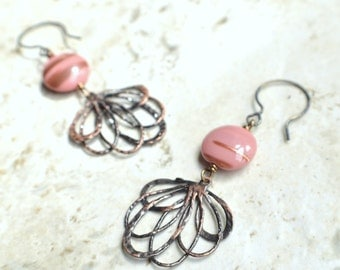 The Janie- Pink and Gold Czech Glass and Brass Filigree Earrings