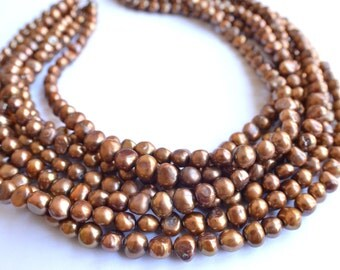 The Michelle- Brown Freshwater Pearl Statement Necklace