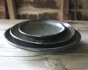 Brown hand made Stoneware Plate set by order