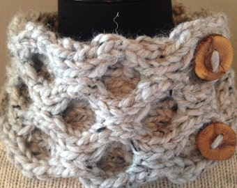 Gray Knitted Cowl, Chunky Honeycomb Cable Neck Warmer with 2 Reclaimed Wood Buttons
