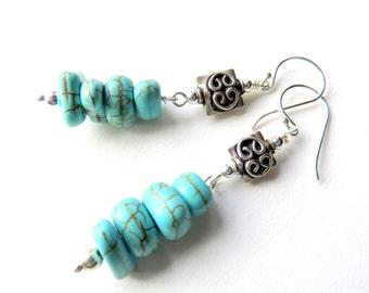 Turquoise and Sterling Silver Earrings - Gemstone Dangle Earrings - Long Southwestern Earrings