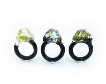 Lichen Moss Terrarium Resin Ring • Size 5 • Eco Resin Ring • Unusual Ring • Faceted Resin Terrarium Ring • Nature Resin Ring • 2J