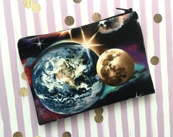 Galaxy print zip pouch - zippered bag - small makeup bag - galaxy bag - galaxy pouch - galaxy cosmetics bag - outer space - black pouch