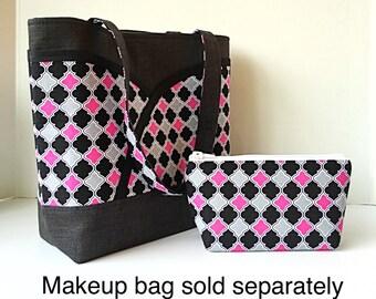 Pink handbag shoulder bag Tote with 7 pockets