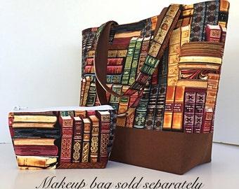 tote bag, books, library book, handbag, brown, gift for women, gift for girl, pockets,