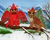 Cat Art Cardinal Bird Cat Painting Red Cat Birds Winter Snow Cats Big Eye Art Christmas Cat Art Print 5x7 Cat Lovers Art