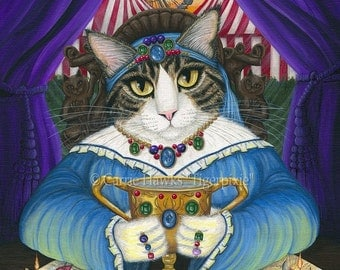 Fortune Teller Cat Psychic Tarot Card Art Queen of Cups Circus Carnival Cat Art Limited Edition Canvas Print 11x14 Art For Cat Lover
