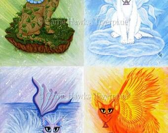 Elemental Fairy Cats Art Mermaid Cat Painting Earth Air Water Fire Elements Fairy Fantasy Cat Art Print 8x10