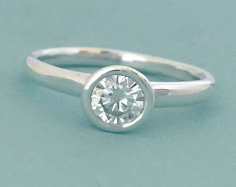 Moissanite Engagement Ring - Recycled Sterling Silver and Moissanite - River - Choose a Stone Size