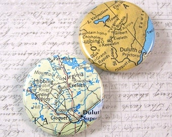 Iron Range Minnesota Map Pinback Button Set