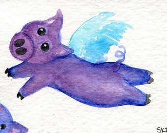 ACEO Original Purple Flying Pig original watercolor painting,  Flying pig art card, SharonFosterArt