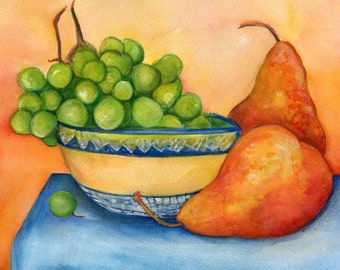 Pears, grapes paintings, fruit bowl original watercolor painting 8 x 10 kitchen wall art,  kitchen wall decor,  fruit still life, home decor