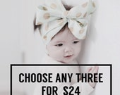 CHOOSE YOUR OWN - Choose any 3 in the shop - Girls Headwrap, Infant Headwrap, Baby Girls Headwrap, Head Wrap, Girls Headband, Big Bow