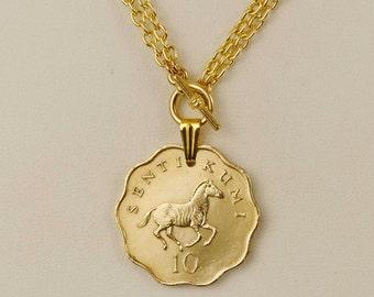 Tanzania Coin Necklace 1984 Prancing Zebra