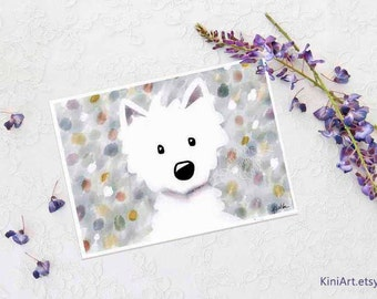 Westie Dog Impressions iPad Painting Signed Mini KiniArt PRINT