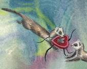 Weasel Card  Ferret  Note Card Greeting Card Romantic Valentine Anniversary